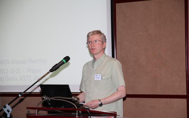 Photograph of Martin Wynne giving a presentation