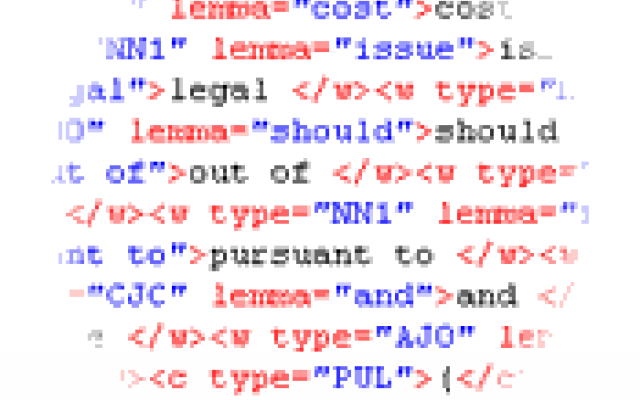 Screenshot of a fragment of the BNC with annotation