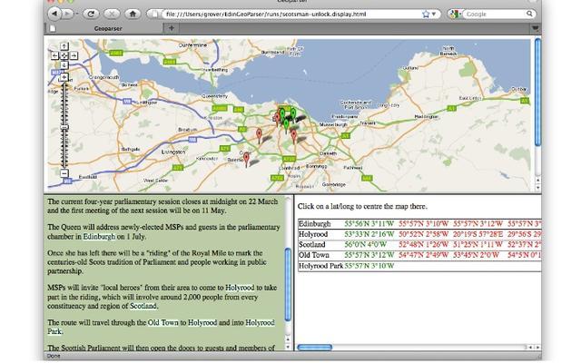 Screenshot image of the Edinburgh Geoparser in action