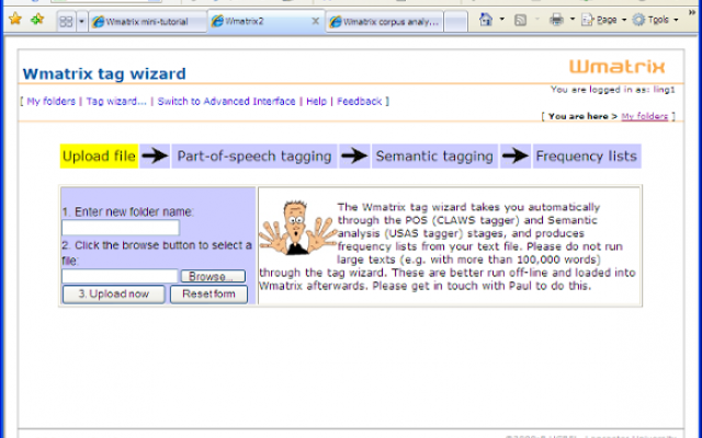Screenshot of the Wmatrix tag wizard